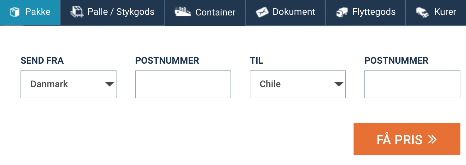 send pakke til Chile billigt