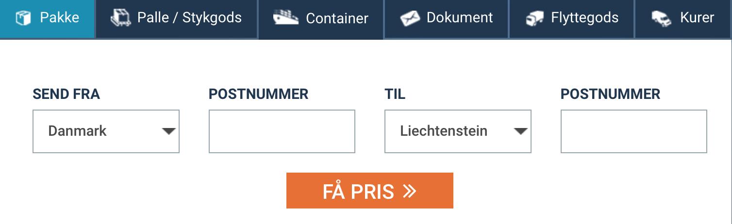 Billig fragt og pakkepost Liechtenstein