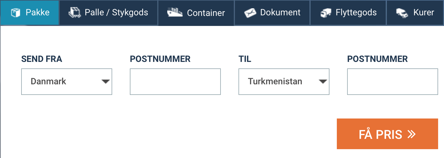 send pakke til Turkmenistan billigt