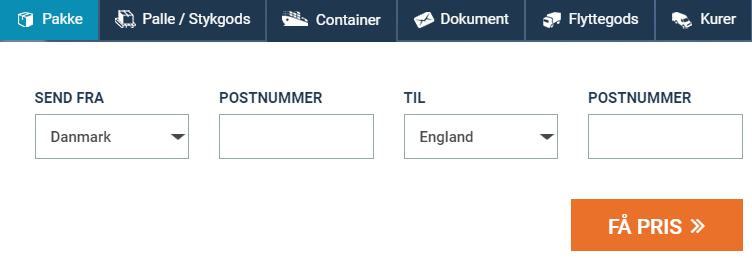 Billigt fragt og pakkepost England