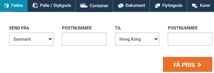 Billigt fragt og pakkepost Hong Kong