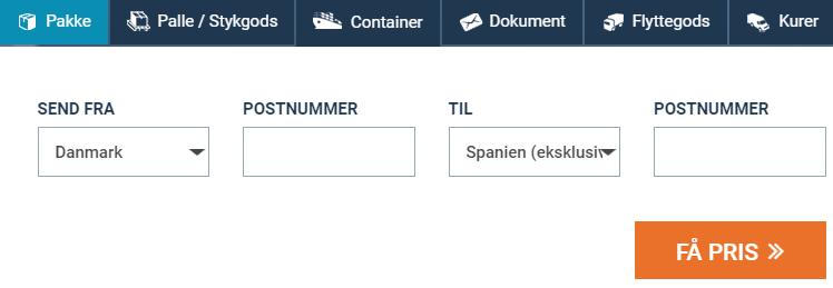 Billigt fragt og pakkepost Spanien