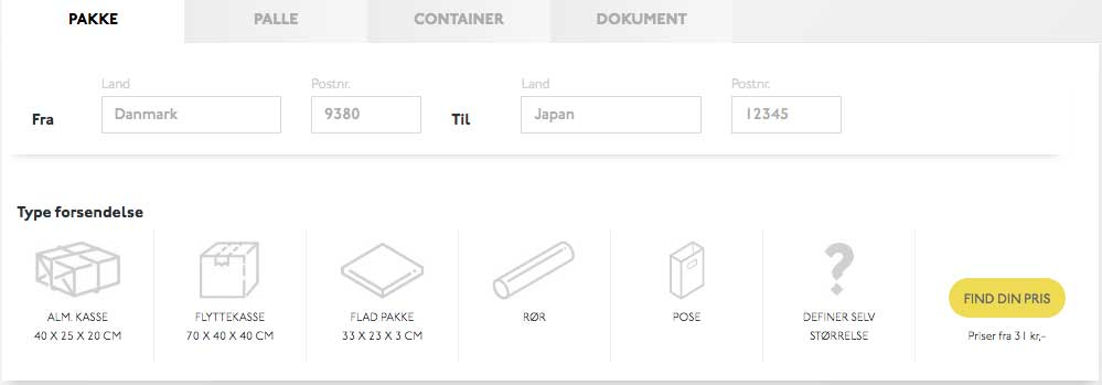 Billig pakkepost og fragt Japan